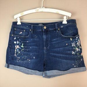 NY & Company Paint Splatter Denim Jeans Shorts